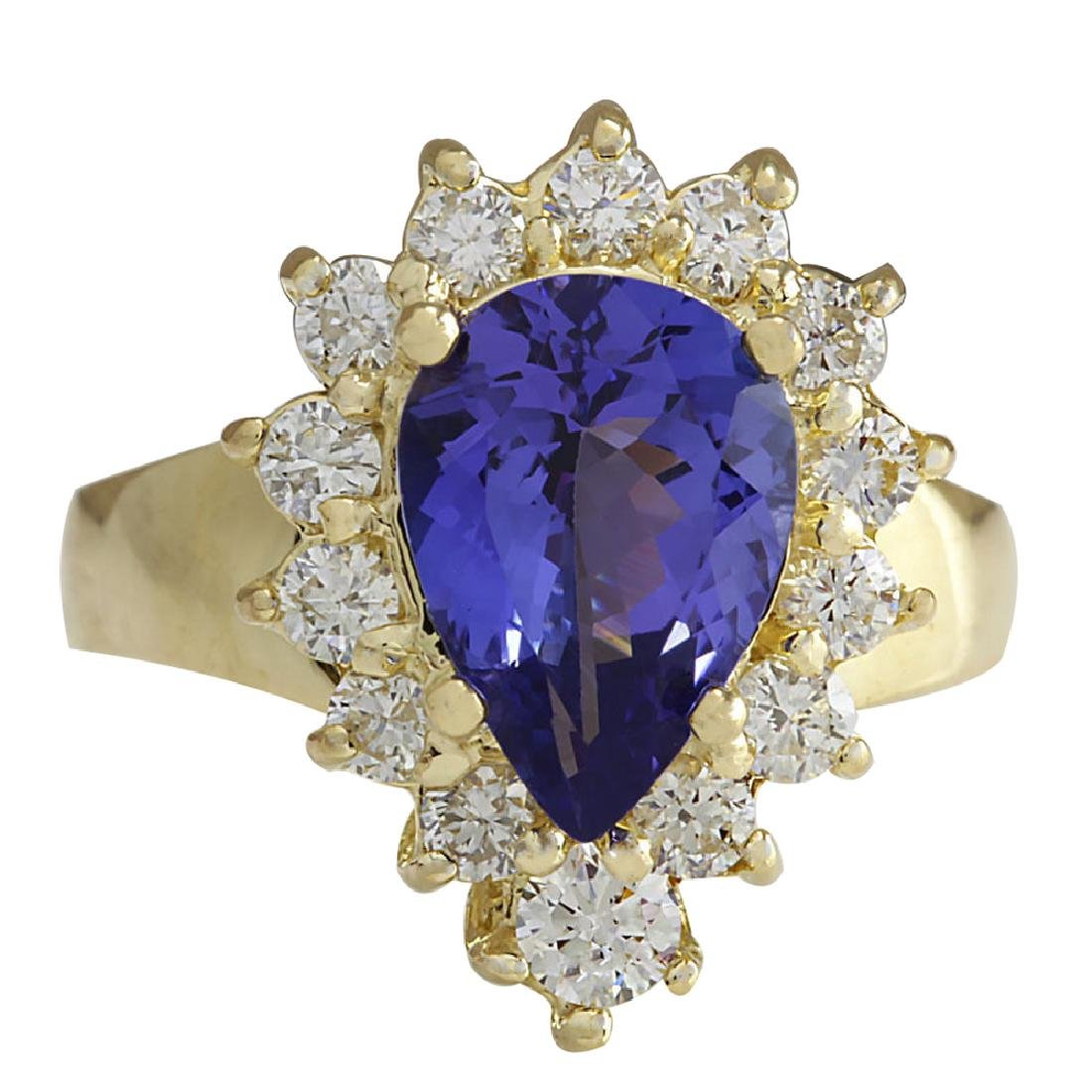 3.33CTW Natural Blue Tanzanite And Diamond Ring 18K
