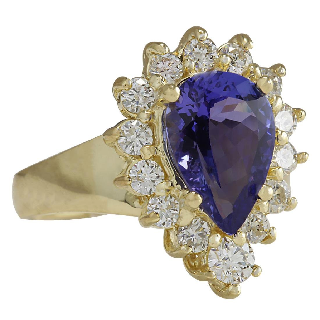 3.33CTW Natural Blue Tanzanite And Diamond Ring 18K - 2