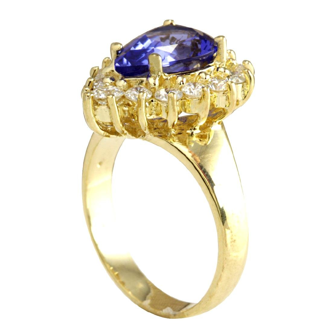 3.33CTW Natural Blue Tanzanite And Diamond Ring 18K - 3