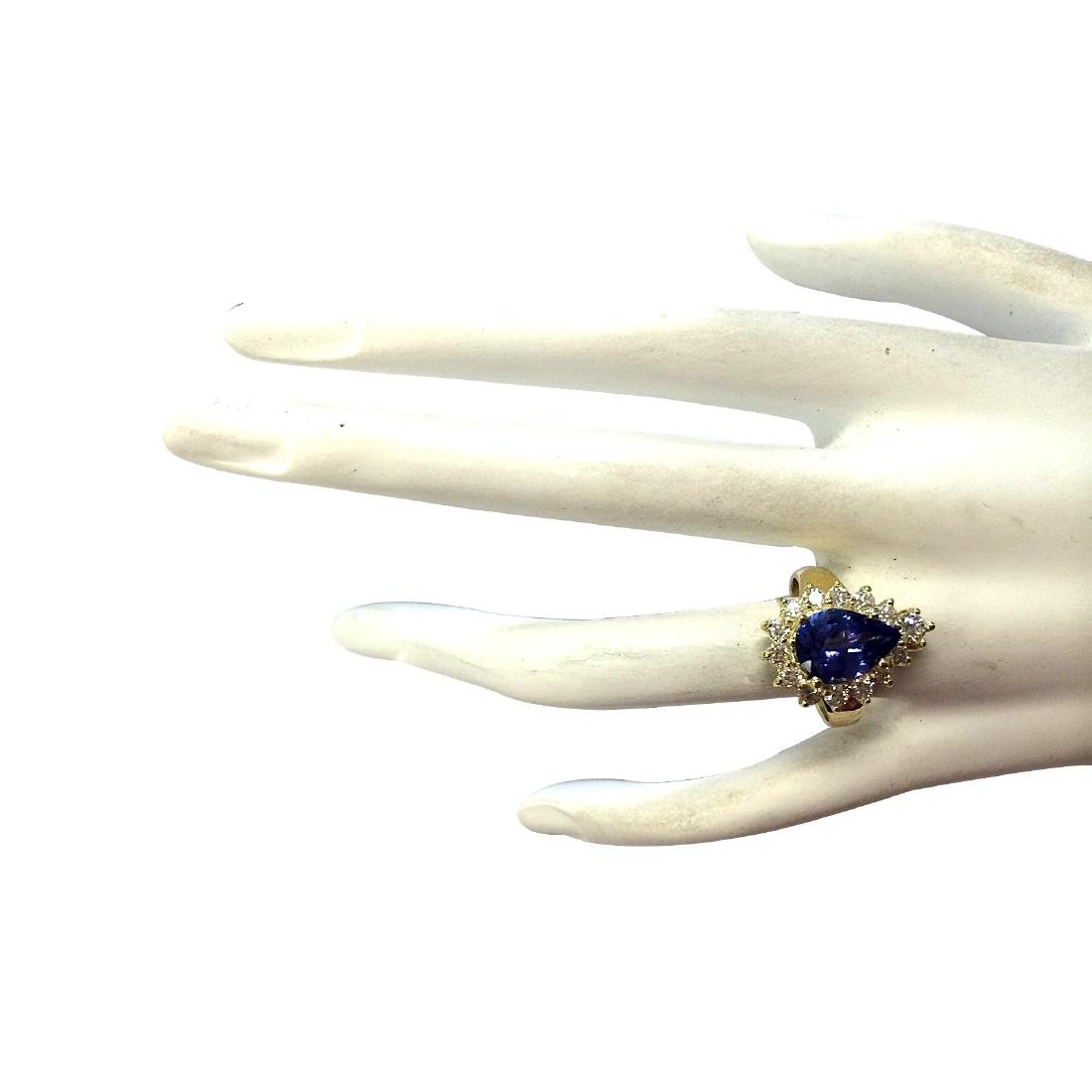 3.33CTW Natural Blue Tanzanite And Diamond Ring 18K - 4