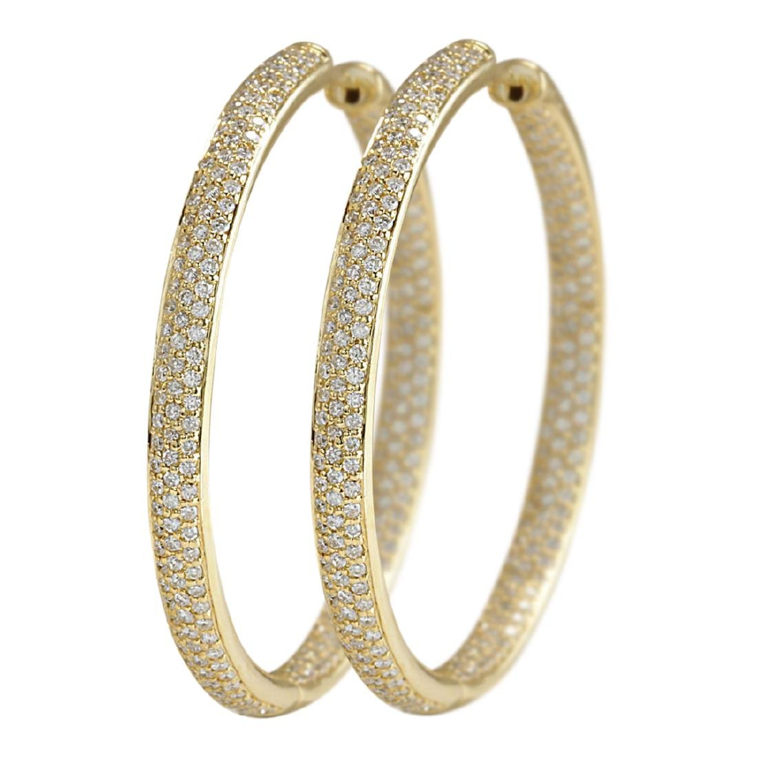 3.36 CTW Natural Diamond Hoop Earrings 18K Solid Yellow