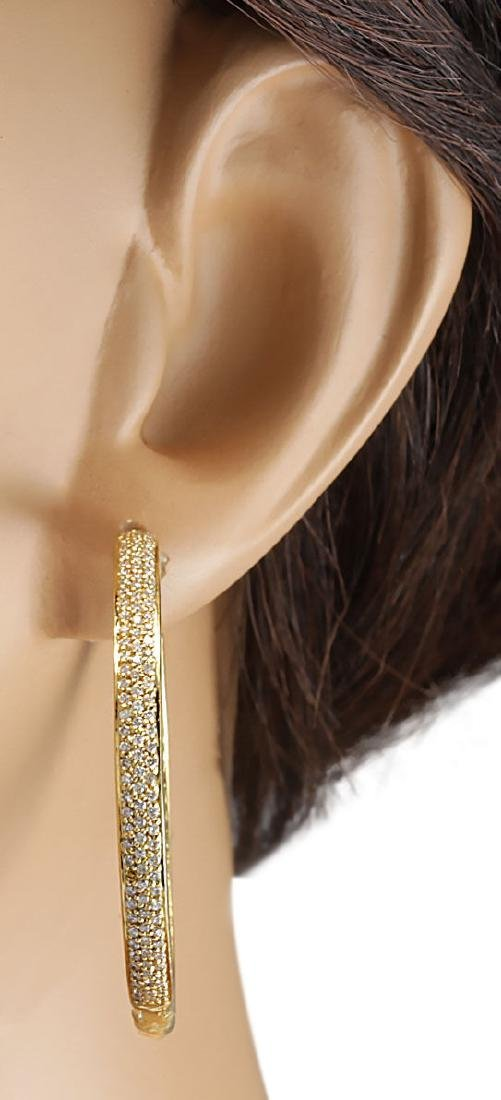 3.36 CTW Natural Diamond Hoop Earrings 18K Solid Yellow - 3
