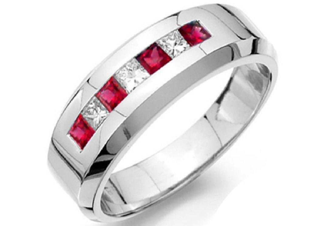Mens 1.60 Carat Natural Ruby 18K Solid White Gold