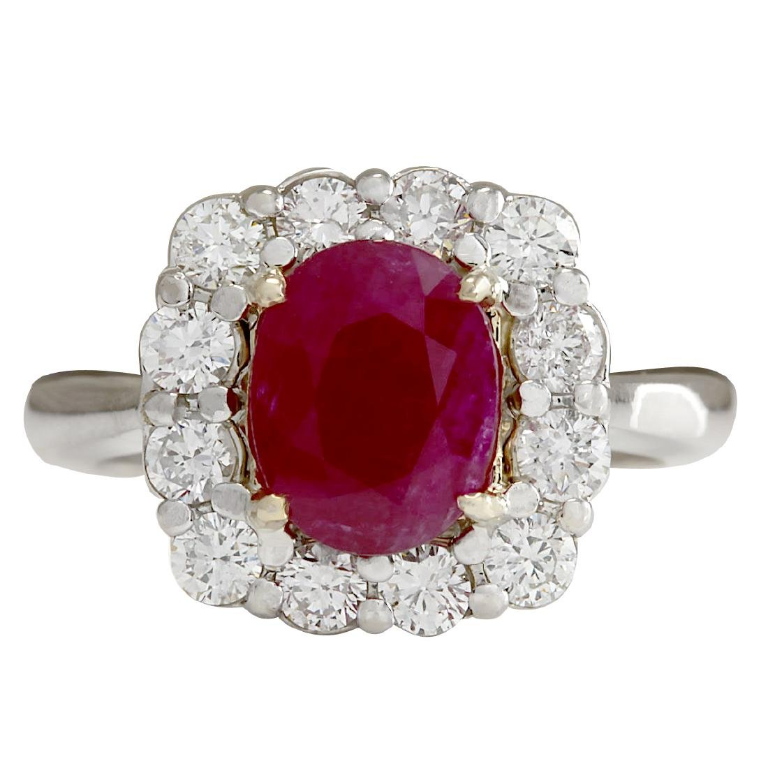 3.47CTW Natural Ruby And Diamond Ring 18K Solid White