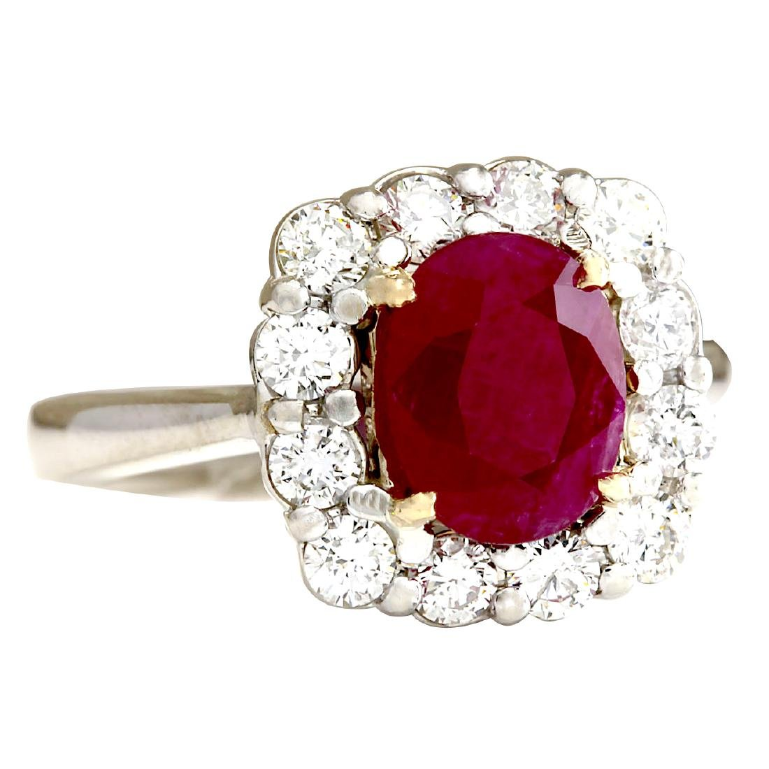 3.47CTW Natural Ruby And Diamond Ring 18K Solid White - 2