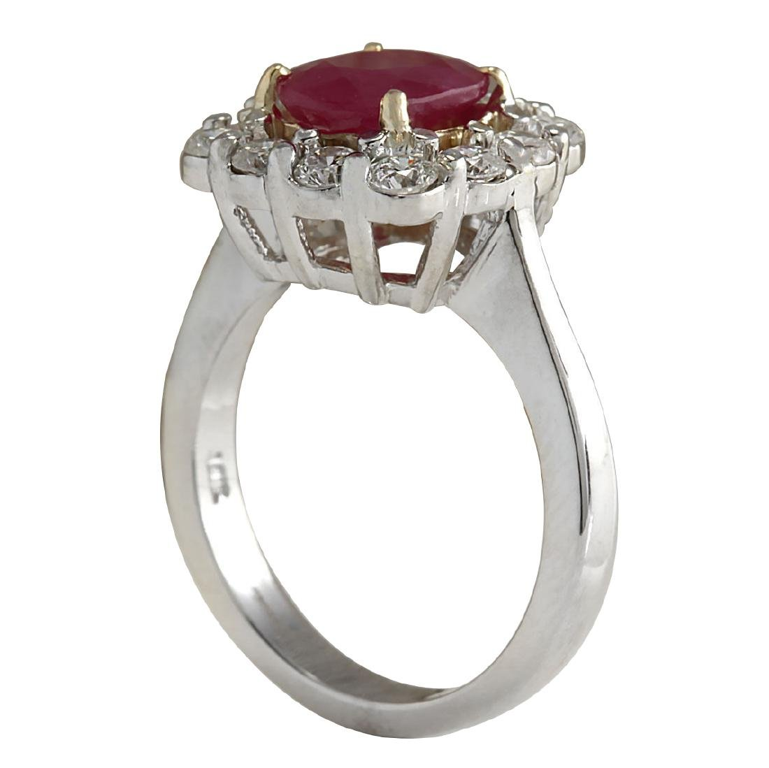 3.47CTW Natural Ruby And Diamond Ring 18K Solid White - 3