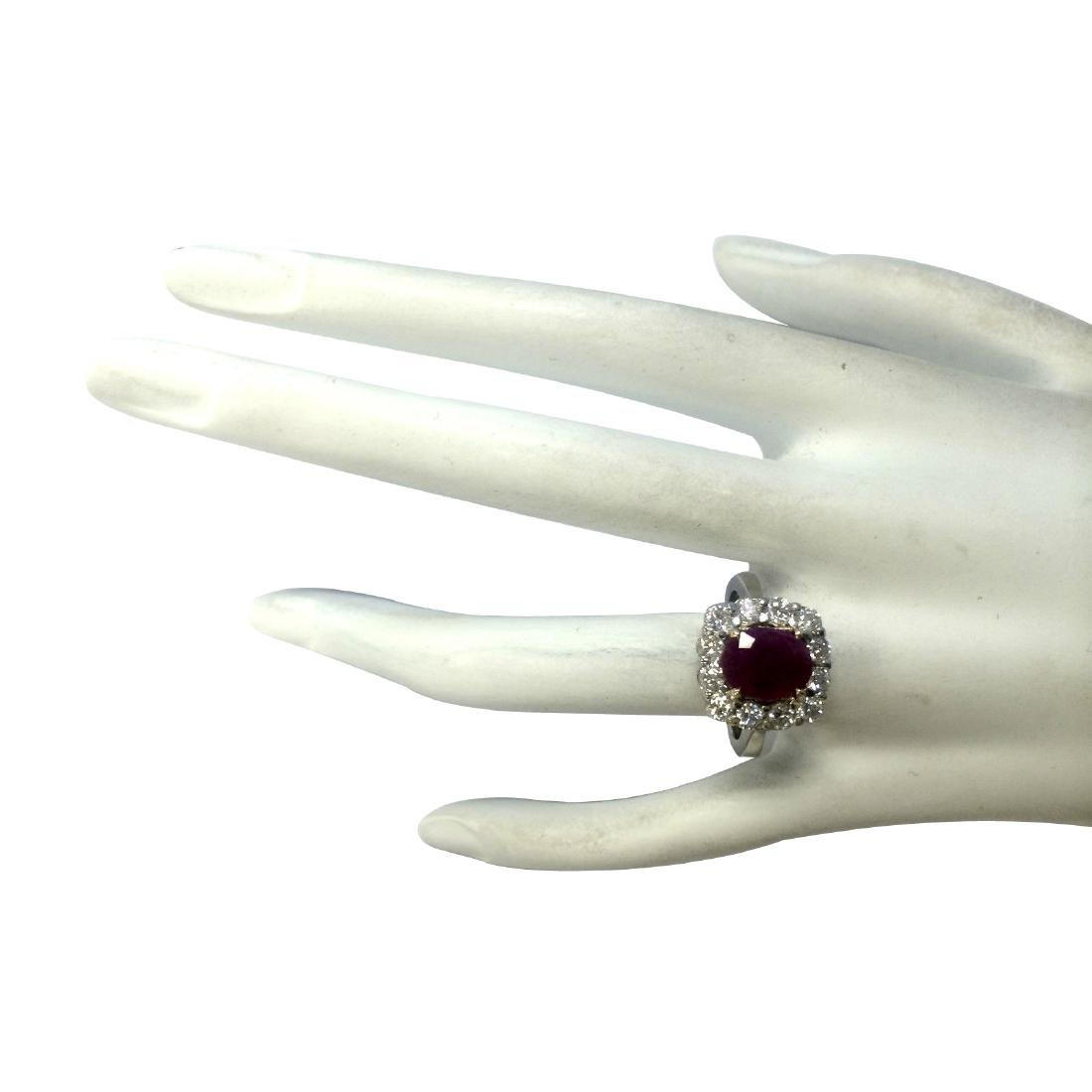 3.47CTW Natural Ruby And Diamond Ring 18K Solid White - 4