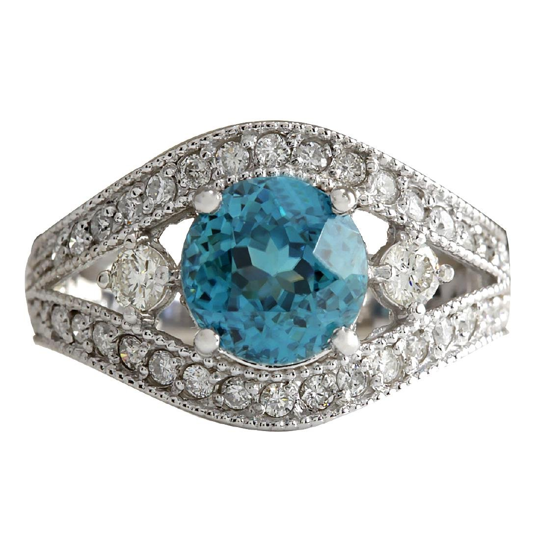 4.16CTW Natural Blue Zircon And Diamond Ring 18K Solid