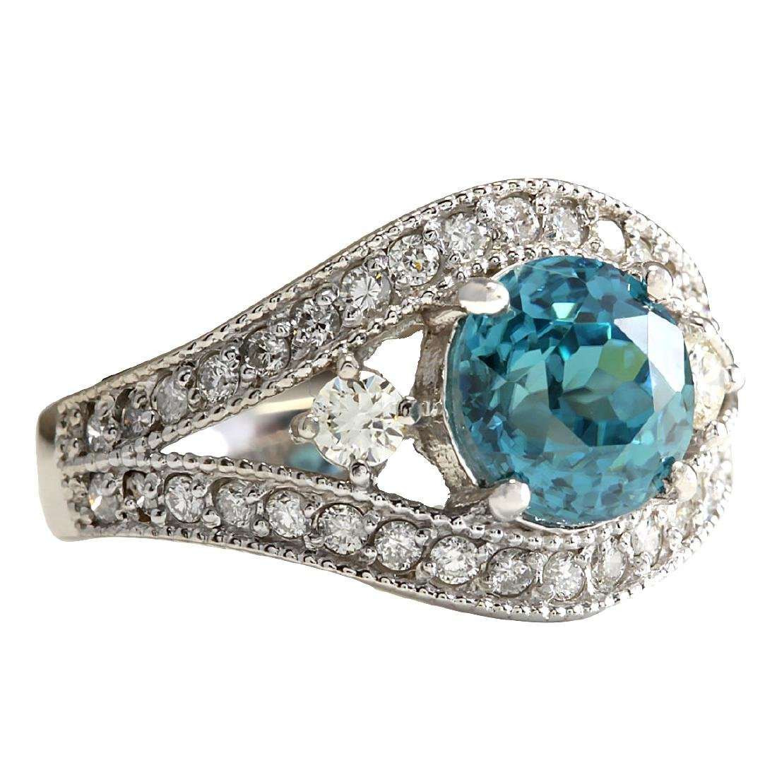 4.16CTW Natural Blue Zircon And Diamond Ring 18K Solid - 2