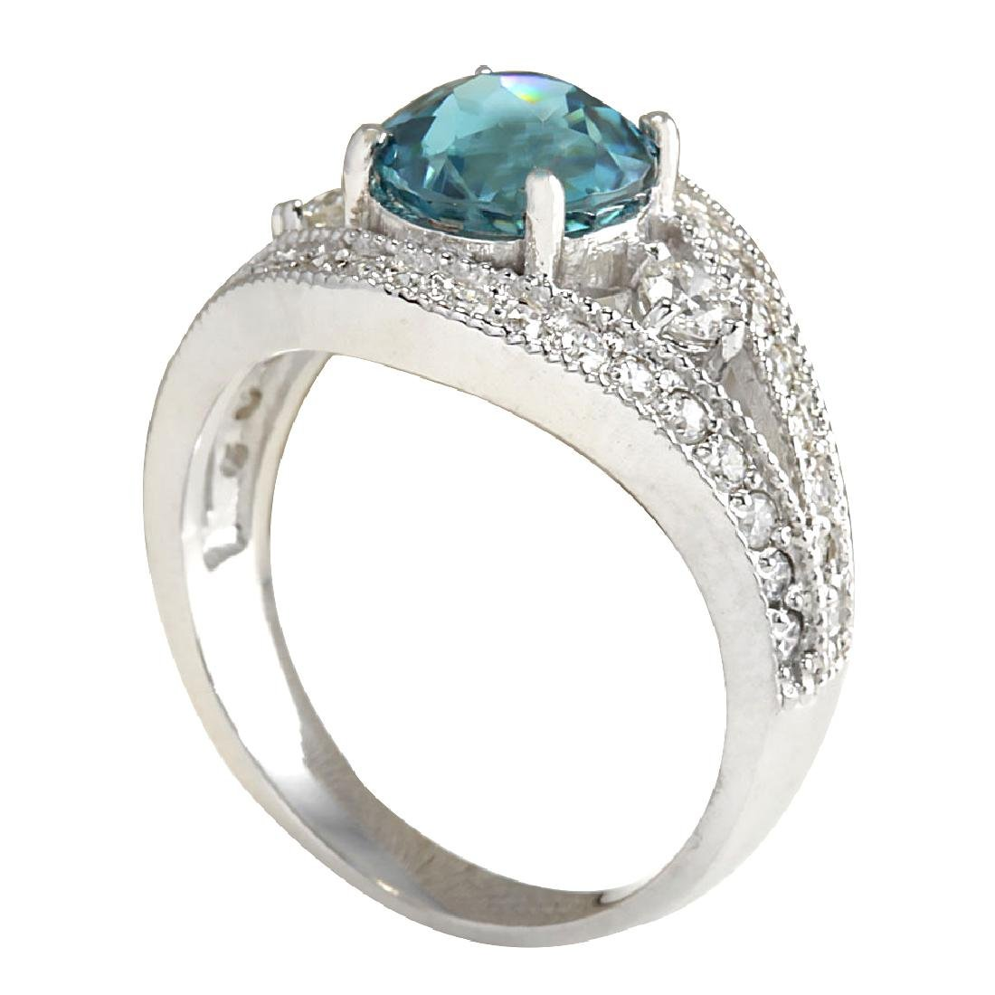 4.16CTW Natural Blue Zircon And Diamond Ring 18K Solid - 3