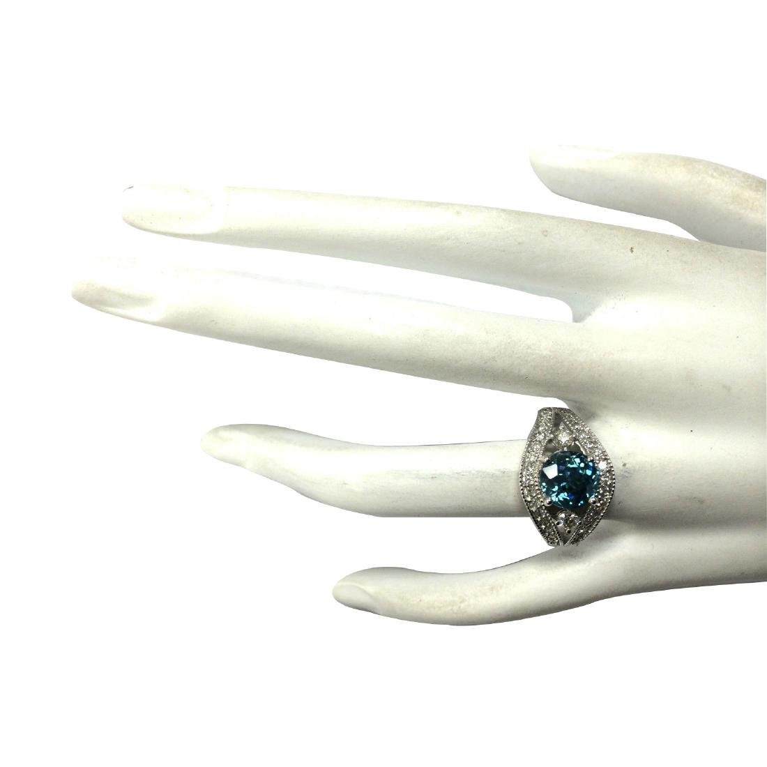 4.16CTW Natural Blue Zircon And Diamond Ring 18K Solid - 4
