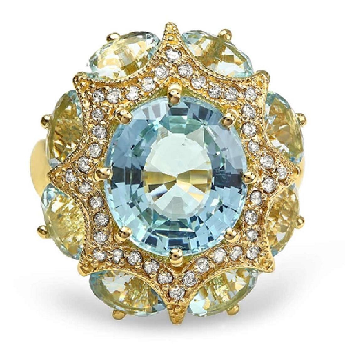 8.00 Carat Natural Aquamarine 18K Solid Yellow Gold