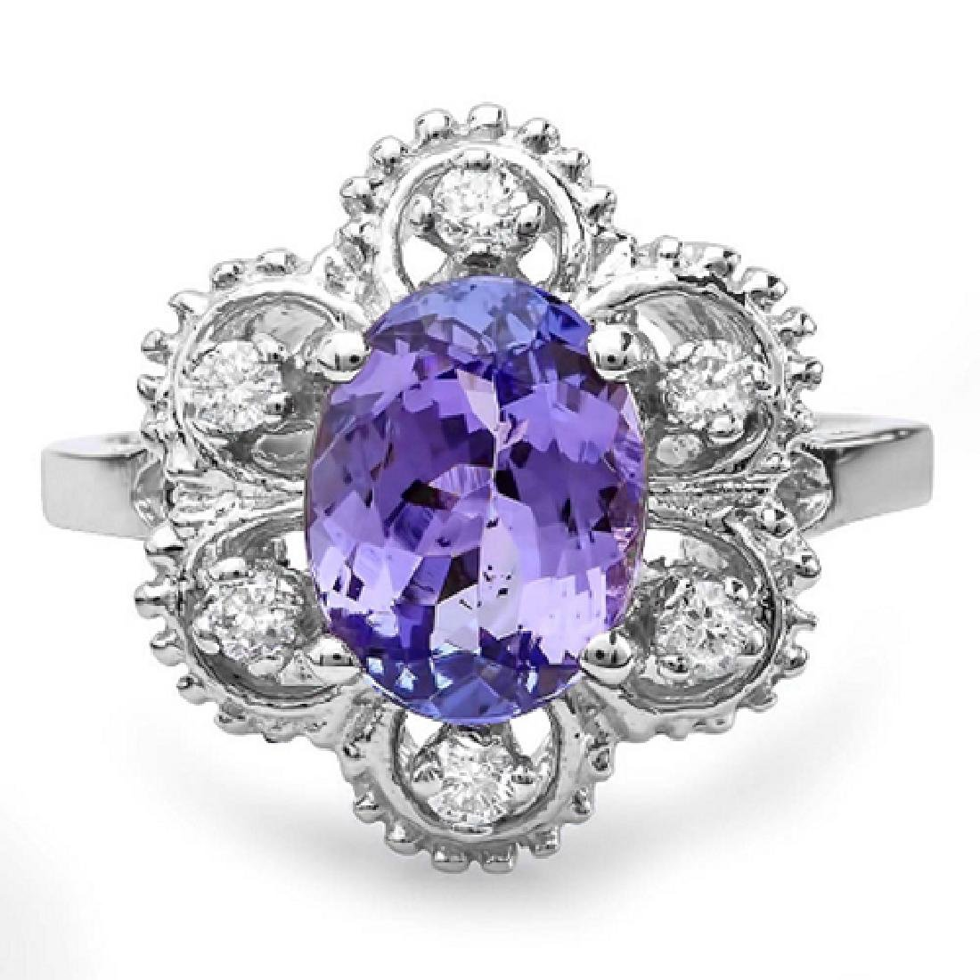 2.45 Carat Natural Tanzanite 18K Solid White Gold