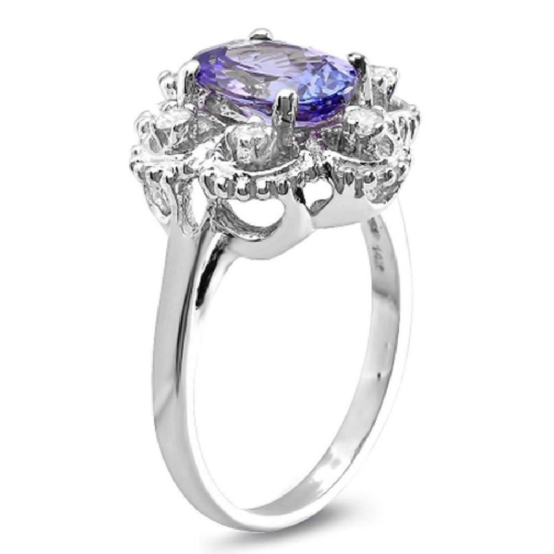 2.45 Carat Natural Tanzanite 18K Solid White Gold - 2