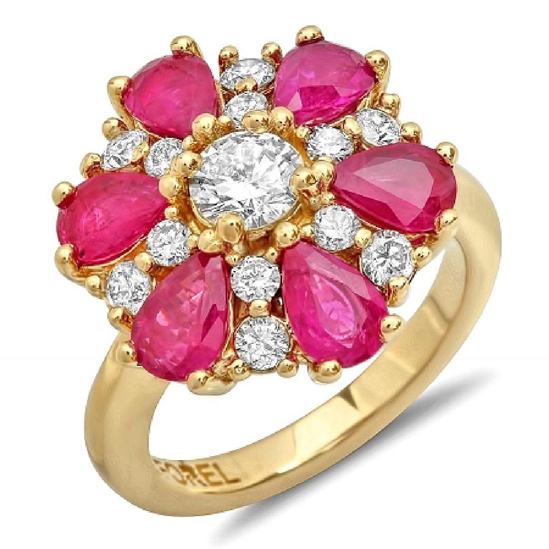 3.72 Carat Natural Ruby 18K Solid Yellow Gold Diamond