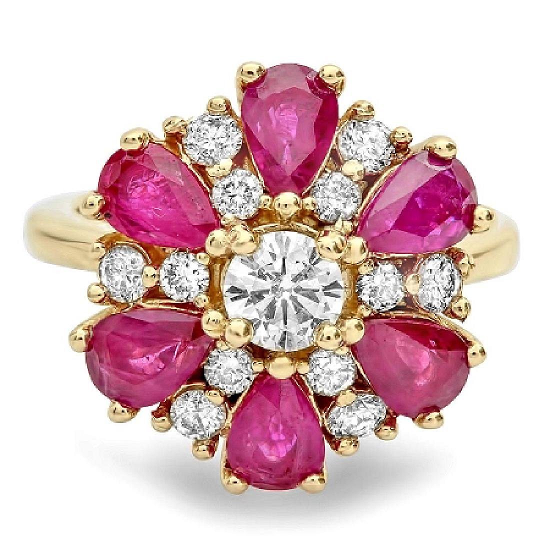 3.72 Carat Natural Ruby 18K Solid Yellow Gold Diamond - 2