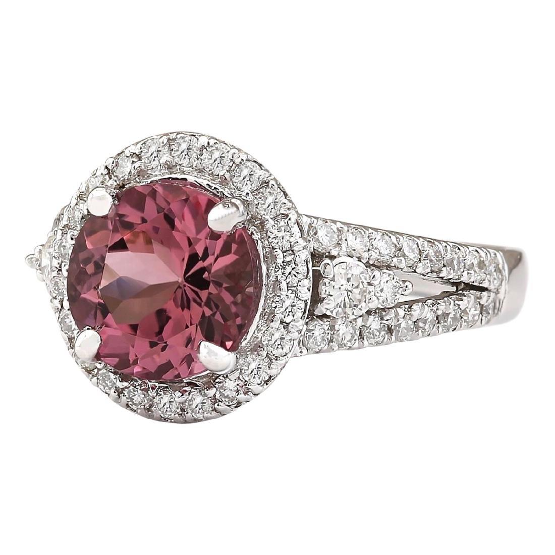 2.79 CTW Natural Pink Tourmaline And Diamond Ring 18K - 2