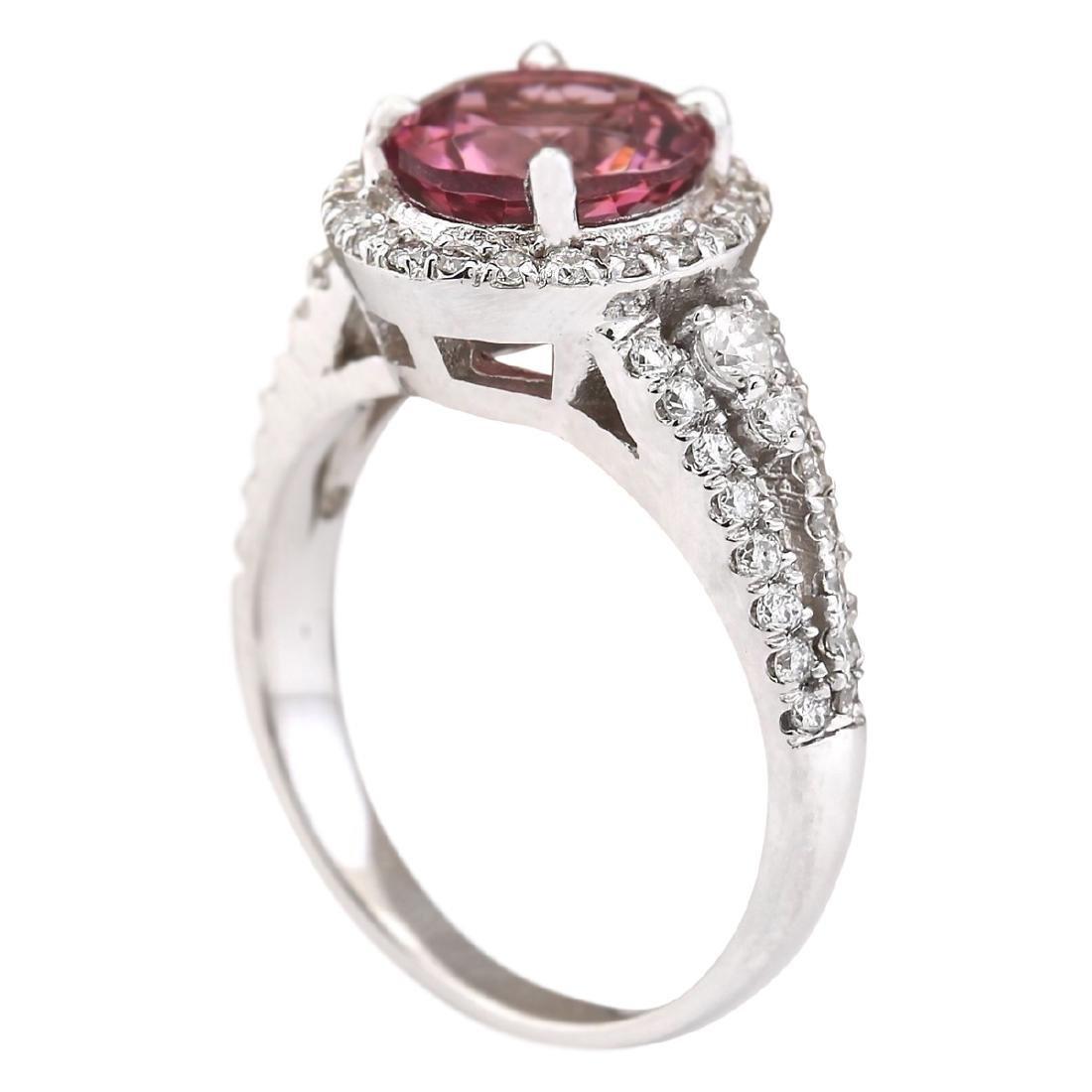 2.79 CTW Natural Pink Tourmaline And Diamond Ring 18K - 3