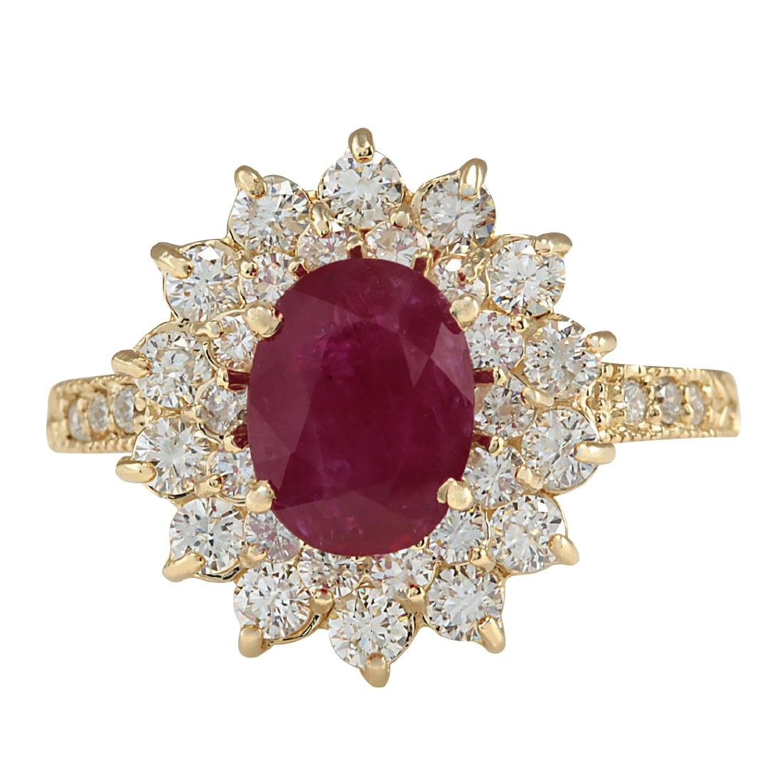 3.28CTW Natural Ruby And Diamond Ring In 18K Yellow