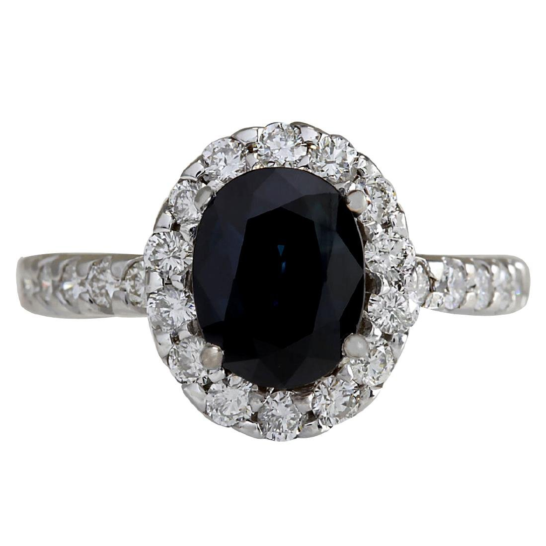 3.11CTW Natural Blue Sapphire Diamond Ring 18K Solid