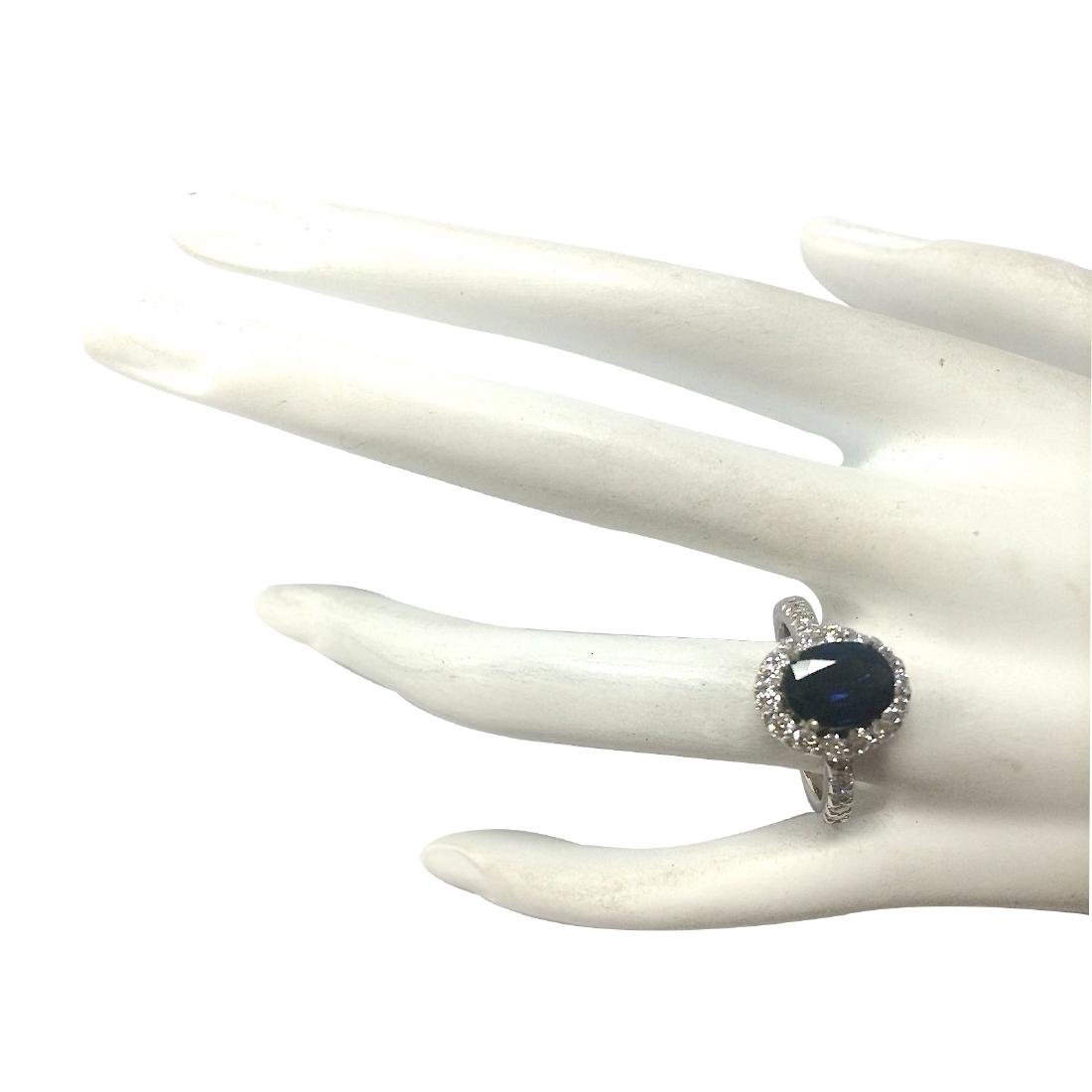 3.11CTW Natural Blue Sapphire Diamond Ring 18K Solid - 4