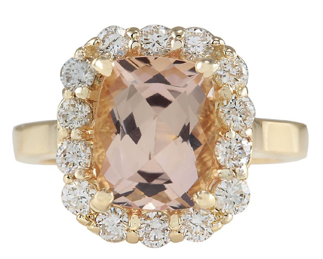 3.75CTW Natural Morganite And Diamond Ring 18K Solid