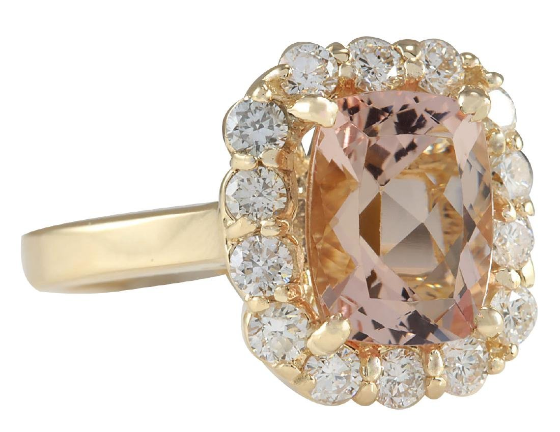 3.75CTW Natural Morganite And Diamond Ring 18K Solid - 2