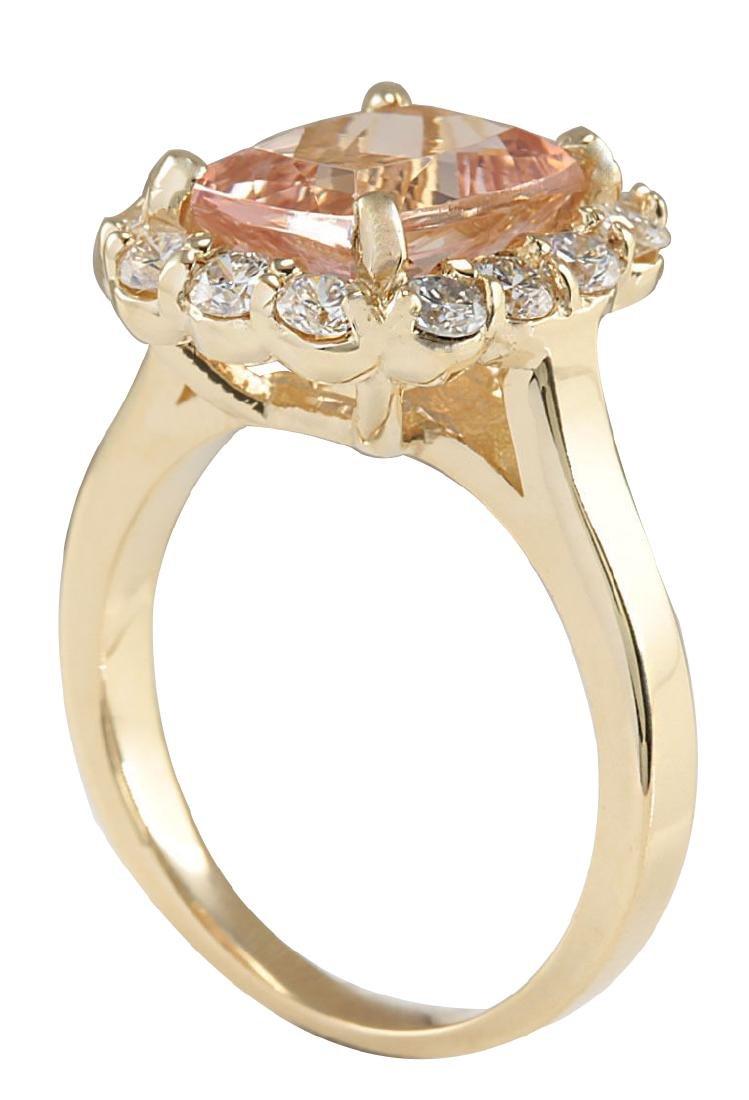 3.75CTW Natural Morganite And Diamond Ring 18K Solid - 3