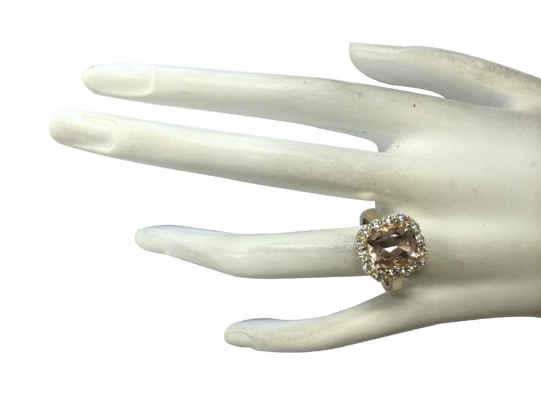 3.75CTW Natural Morganite And Diamond Ring 18K Solid - 4