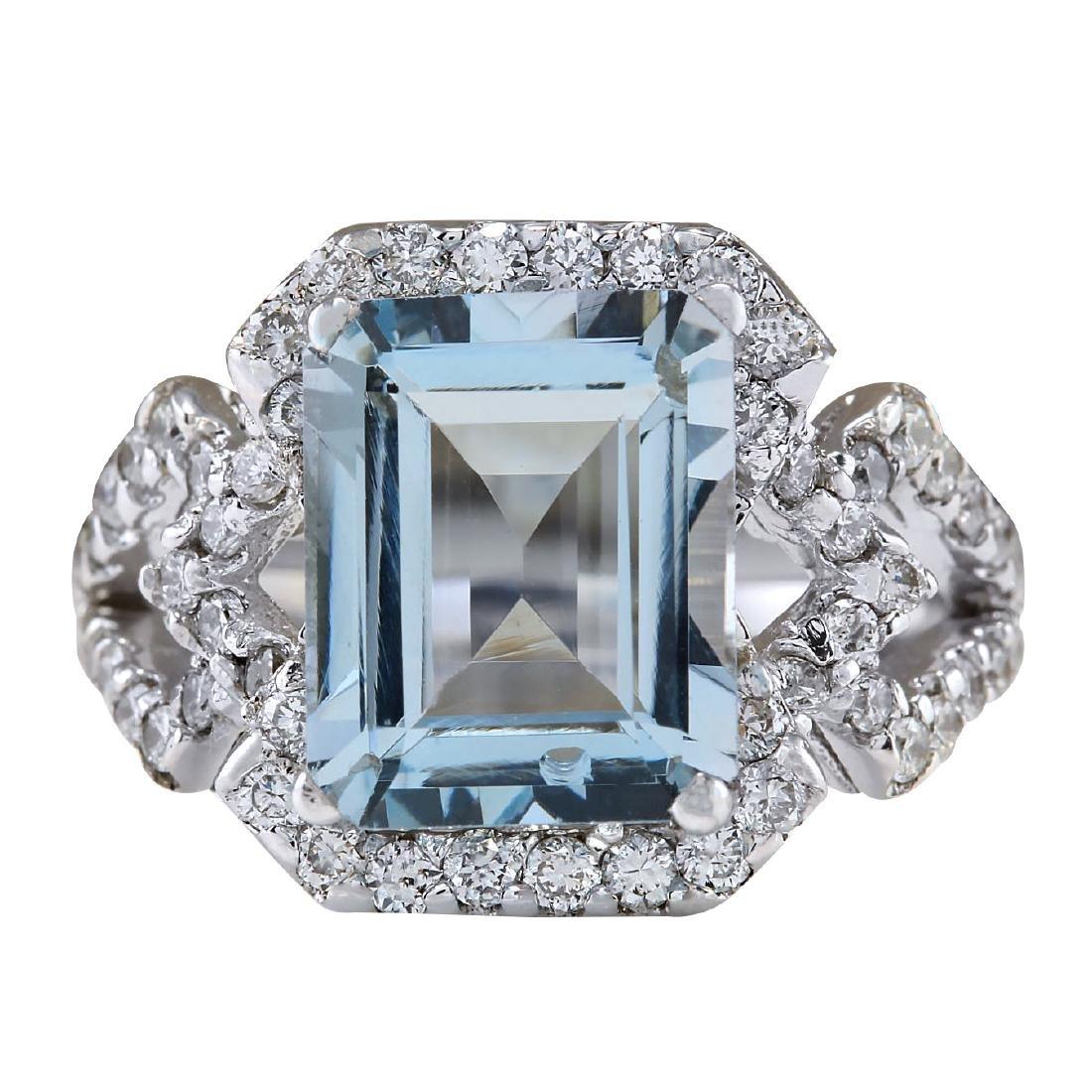 4.26CTW Natural Aquamarine And Diamond Ring In 18K