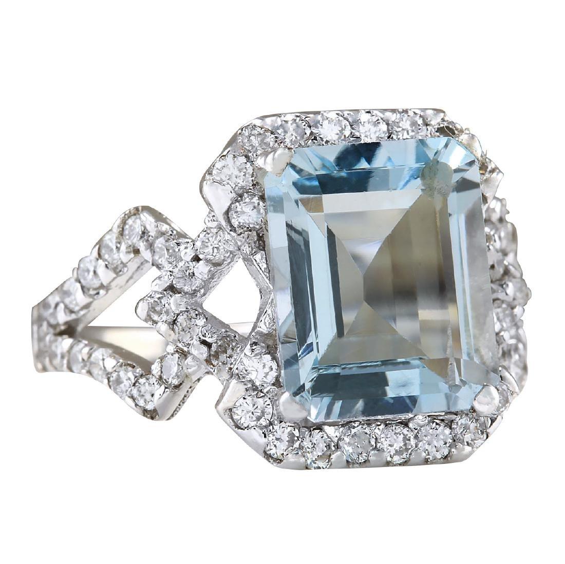 4.26CTW Natural Aquamarine And Diamond Ring In 18K - 2