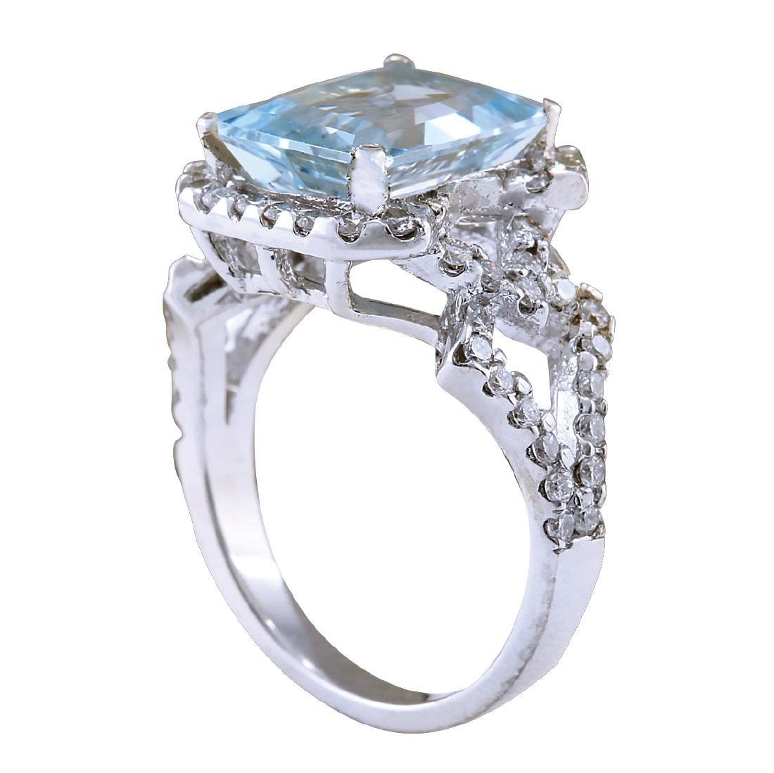 4.26CTW Natural Aquamarine And Diamond Ring In 18K - 3