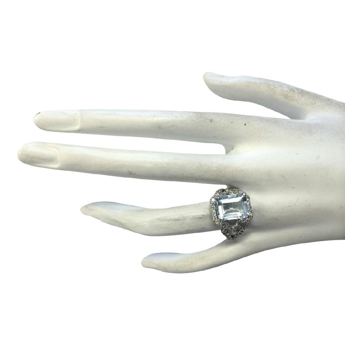 4.26CTW Natural Aquamarine And Diamond Ring In 18K - 4