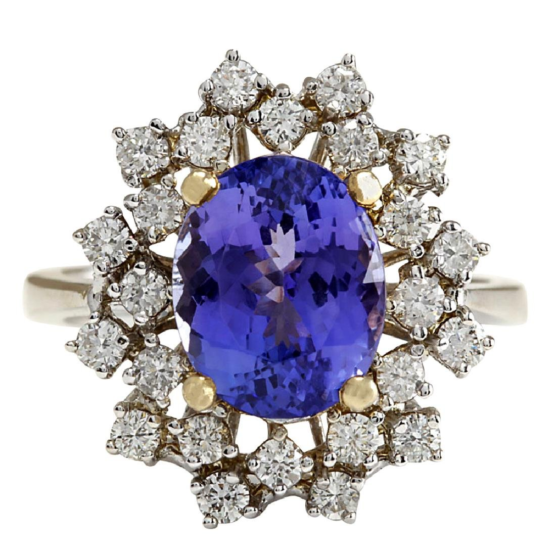 5.20CTW Natural Tanzanite Diamond Ring 18K Solid White