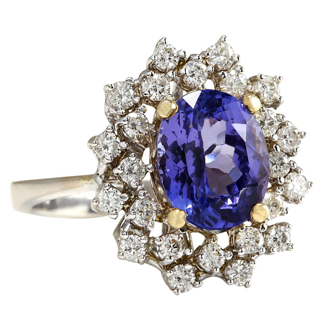 5.20CTW Natural Tanzanite Diamond Ring 18K Solid White - 2