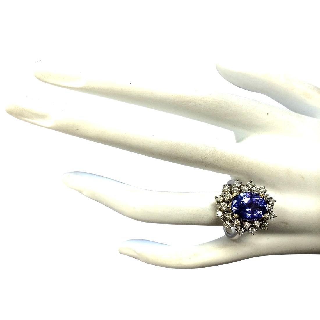 5.20CTW Natural Tanzanite Diamond Ring 18K Solid White - 4