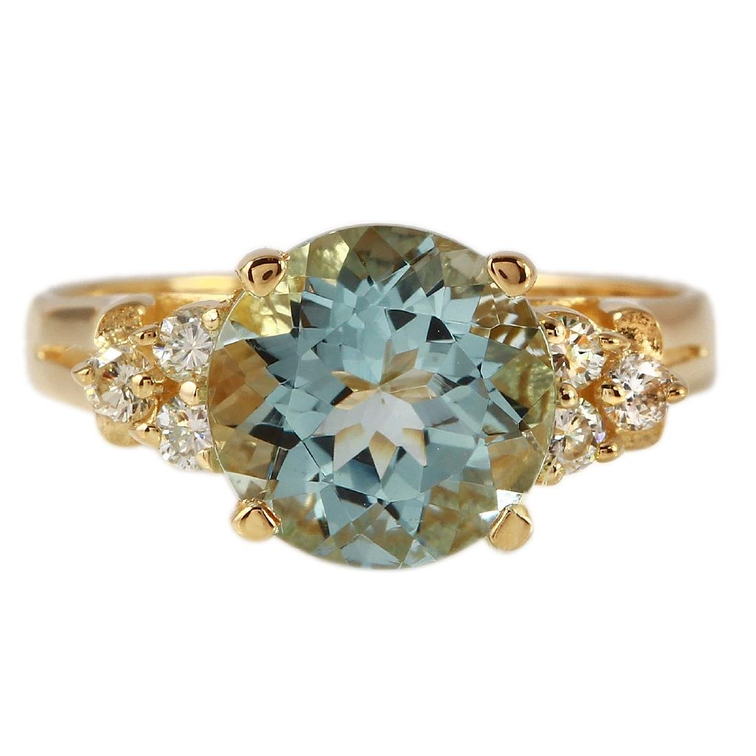 2.17 Carat Natural Aquamarine 18K Solid Yellow Gold