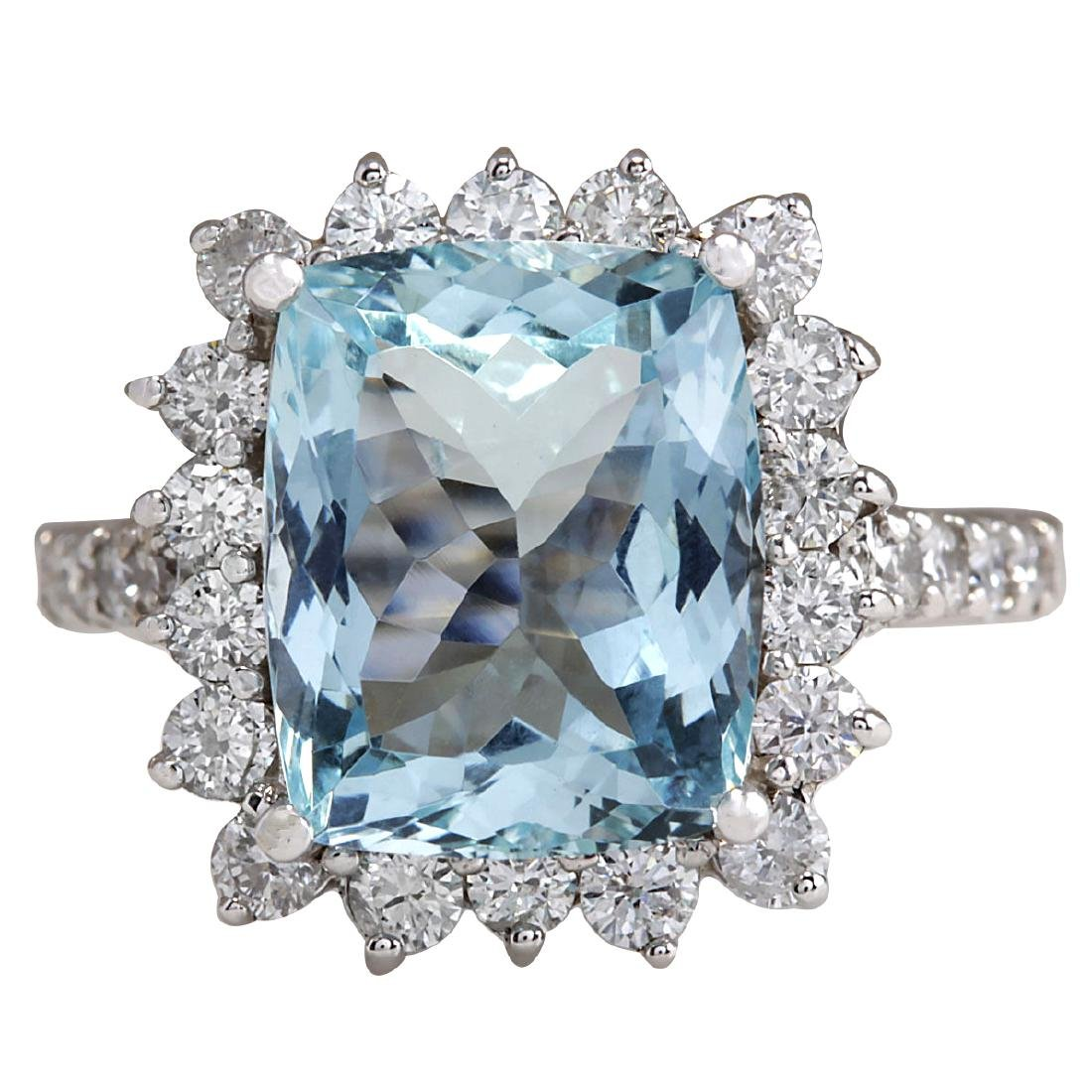 6.01CTW Natural Aquamarine And Diamond Ring In 18K