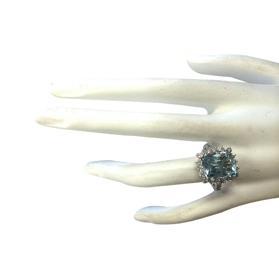 6.01CTW Natural Aquamarine And Diamond Ring In 18K - 4