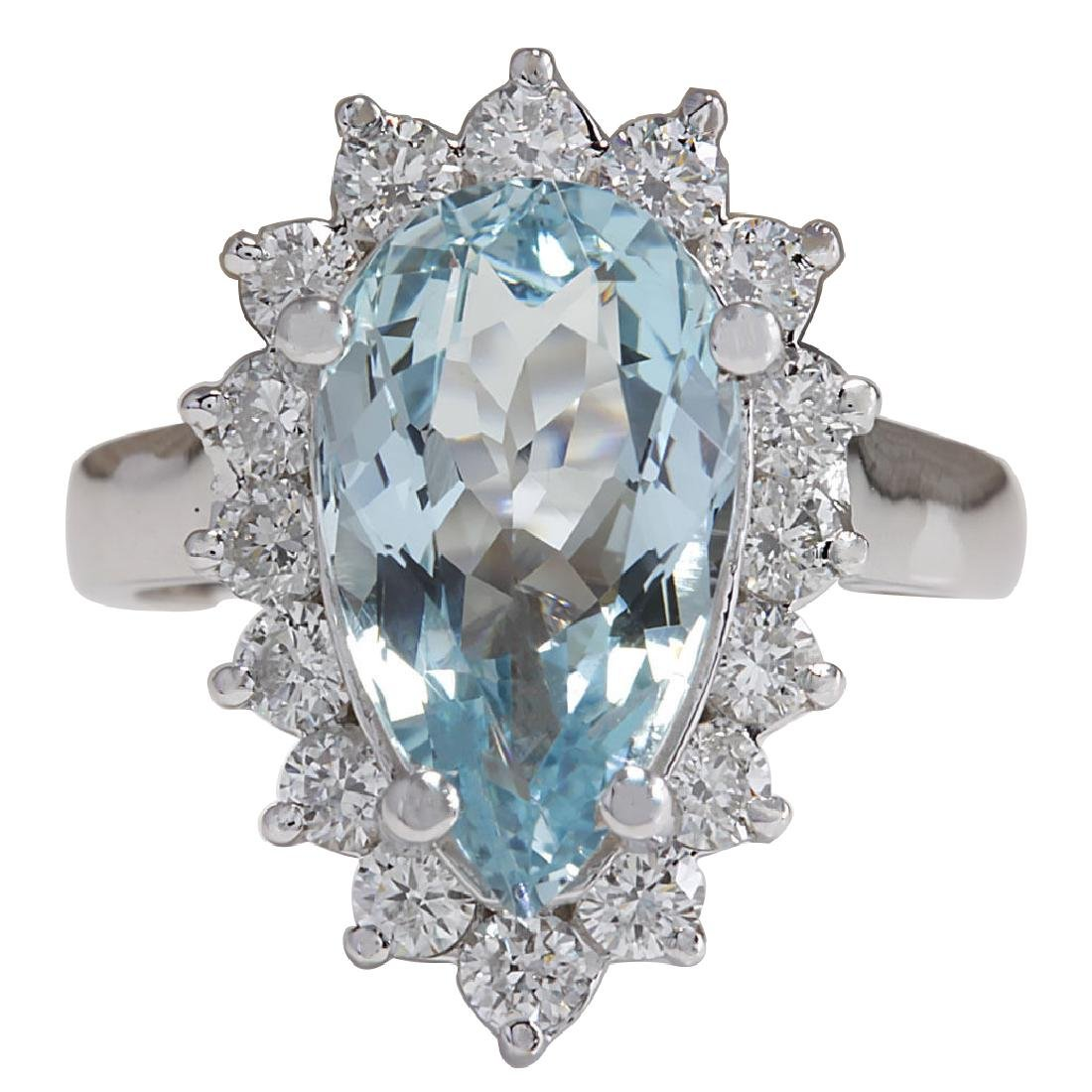 4.63CTW Natural Aquamarine And Diamond Ring In 18K