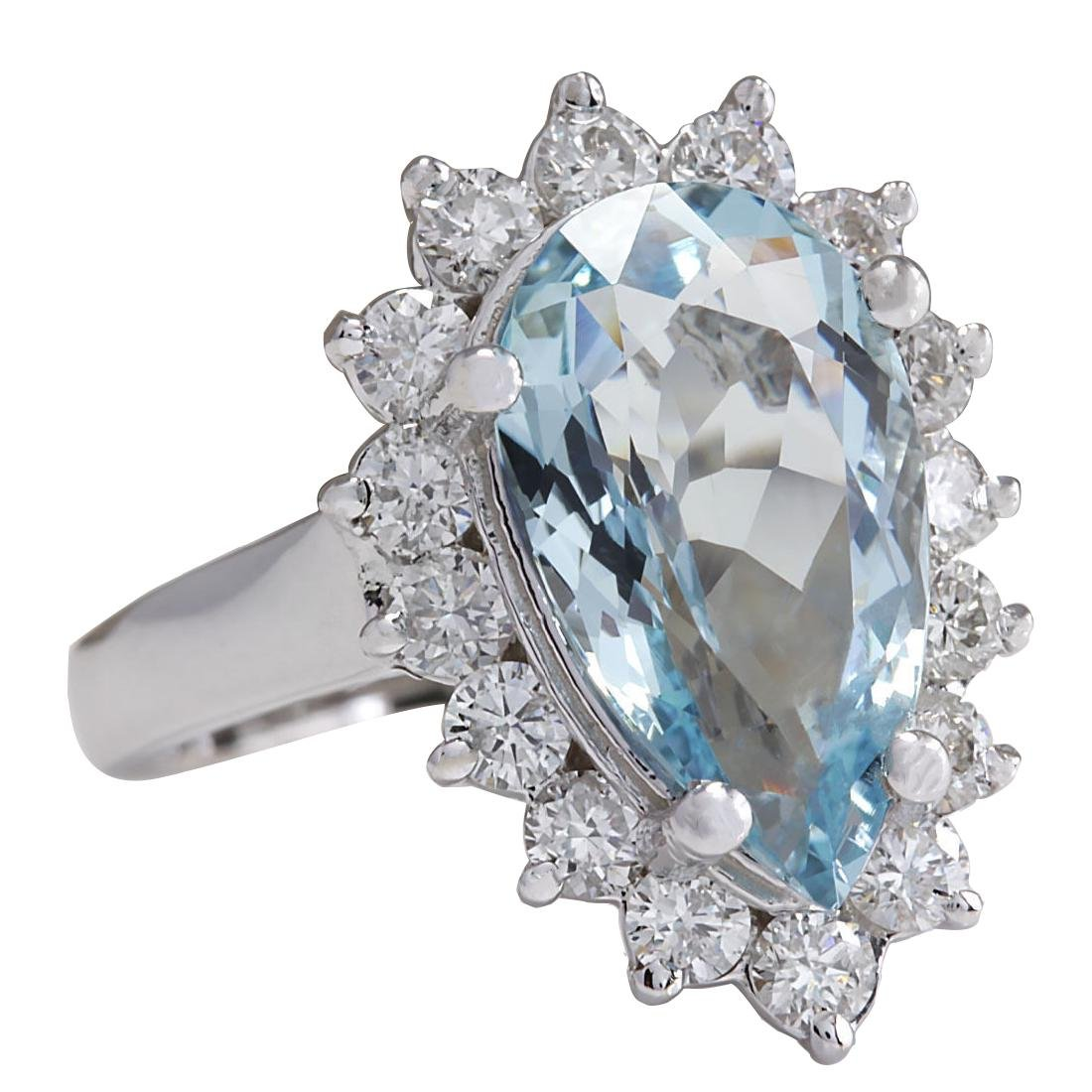 4.63CTW Natural Aquamarine And Diamond Ring In 18K - 2