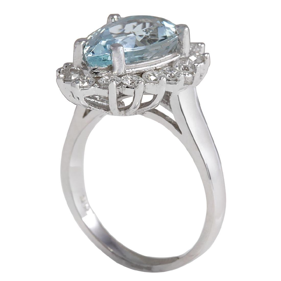4.63CTW Natural Aquamarine And Diamond Ring In 18K - 3