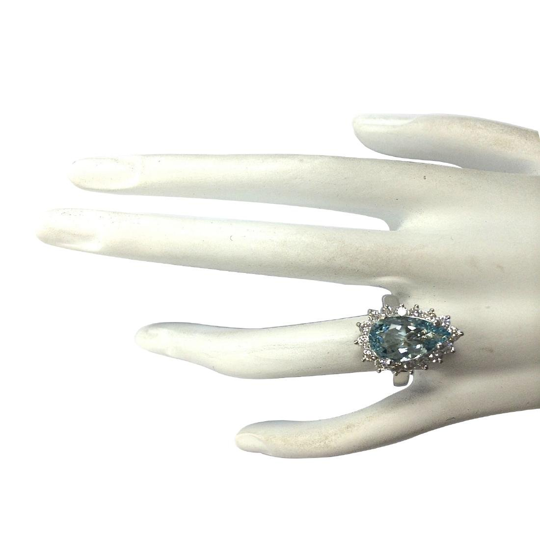 4.63CTW Natural Aquamarine And Diamond Ring In 18K - 4