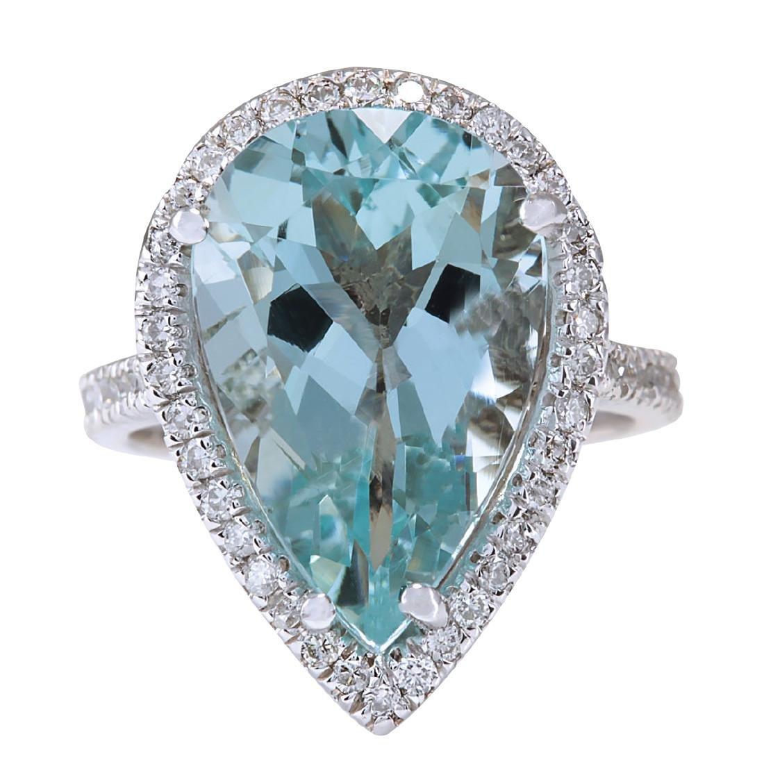 8.35CTW Natural Aquamarine And Diamond Ring In 18K