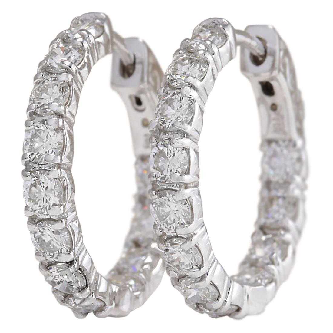 3.10 CTW Natural Diamond Hoop Earrings 18K Solid White