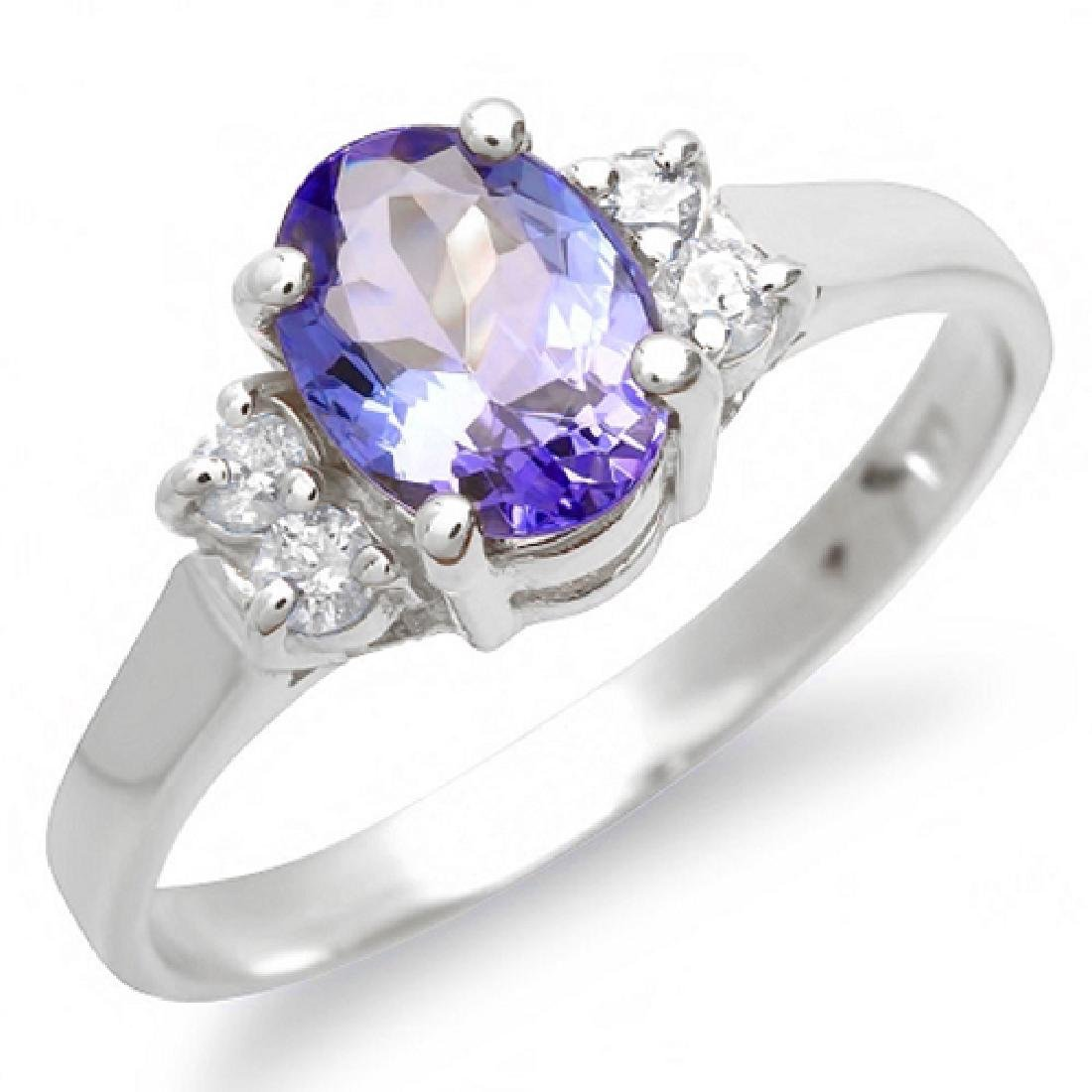 1.15 Carat Natural Tanzanite 18K Solid White Gold