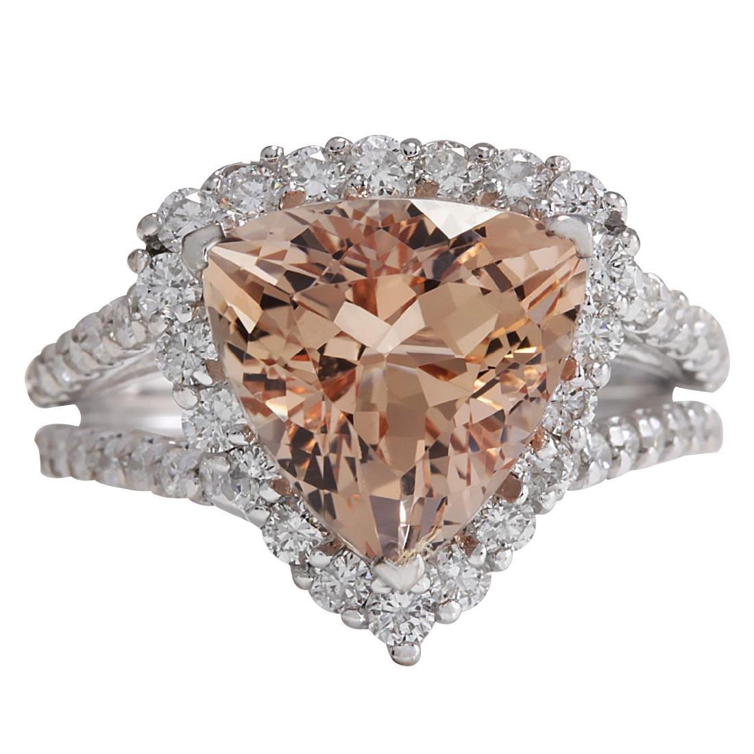 5.27CTW Natural Peach Morganite And Diamond Ring In 18K