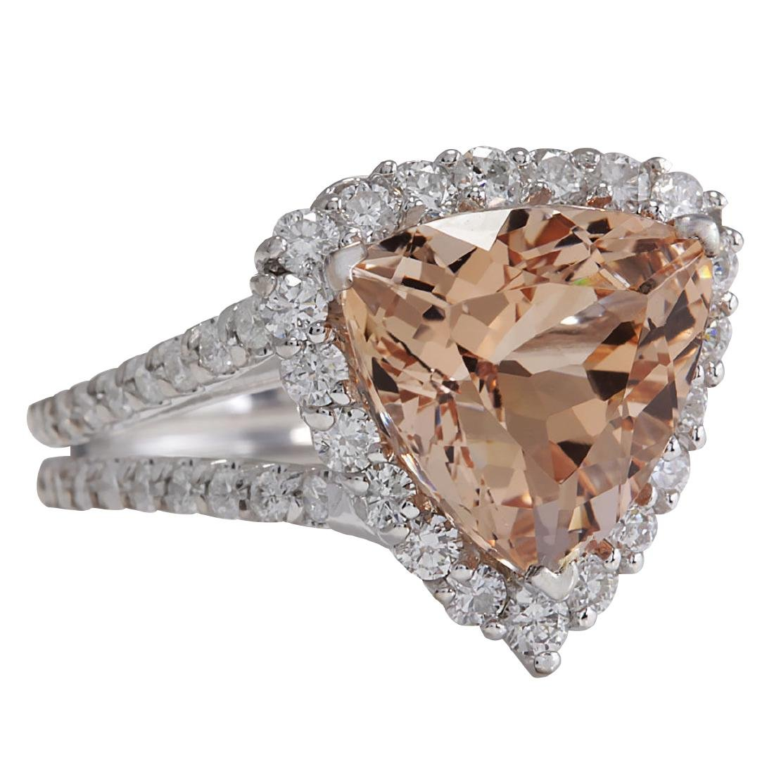 5.27CTW Natural Peach Morganite And Diamond Ring In 18K - 2