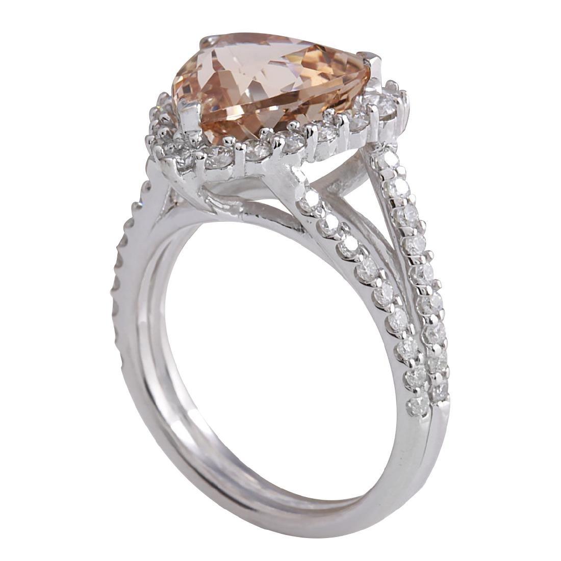 5.27CTW Natural Peach Morganite And Diamond Ring In 18K - 3