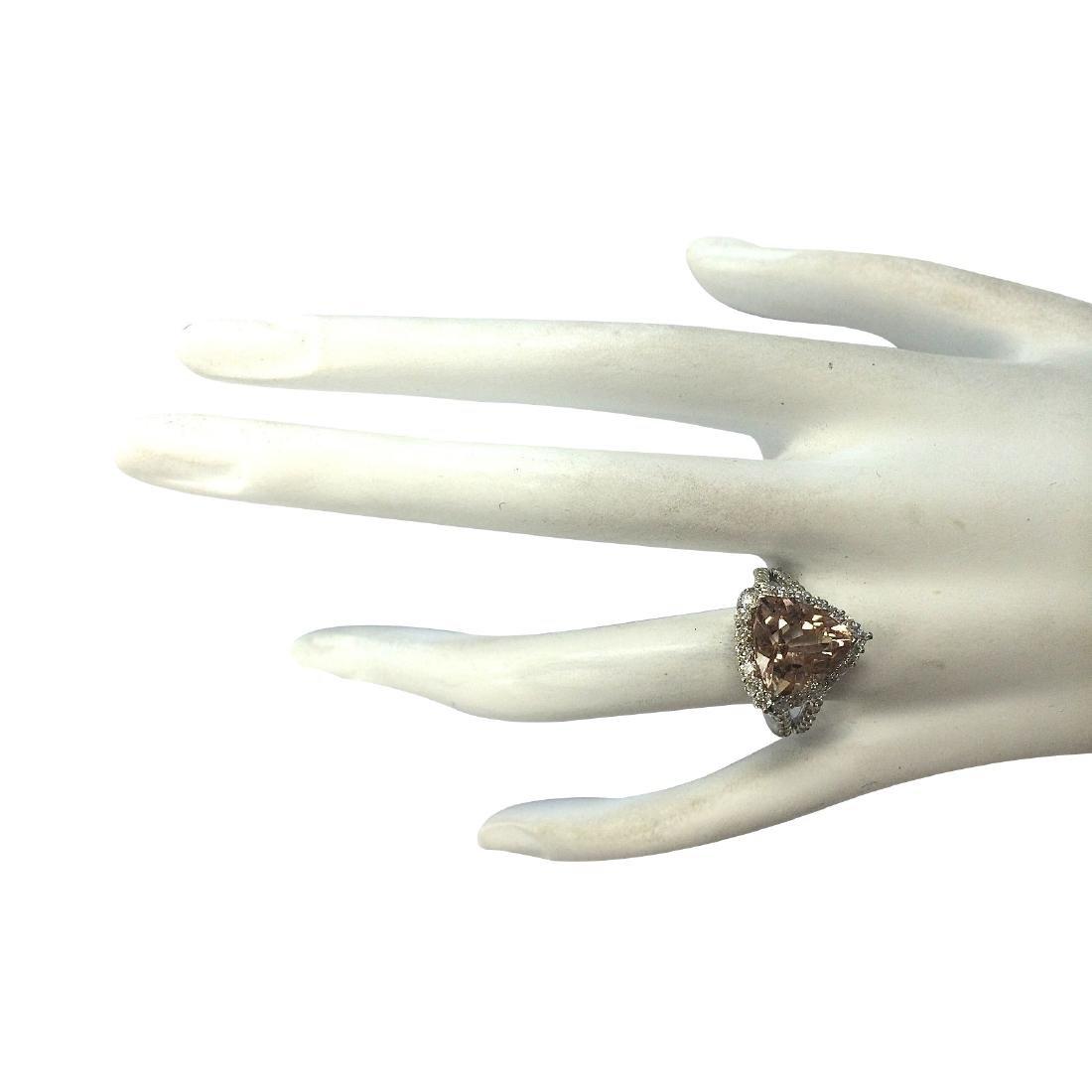 5.27CTW Natural Peach Morganite And Diamond Ring In 18K - 4